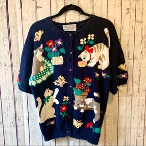 Vintage Knit Playful Cats Buttondown Sweater